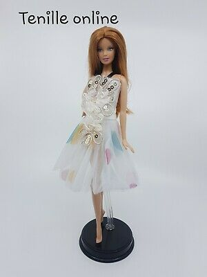 New Barbie doll clothes outfit princess  cocktail ballet dress yellow