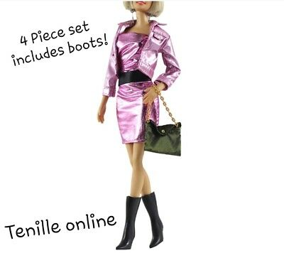 New Barbie clothes complete outfit pink purse    jacket fashion boots shiny