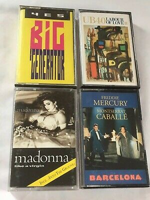 4 Original Rock Pop 1980s Cassette Tapes UB40 Madonna Yes Freddie Mercury Tested
