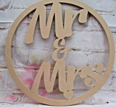 Mr and Mrs MDF Hoop varied sizes Craft shape wedding decor 6mm MDF