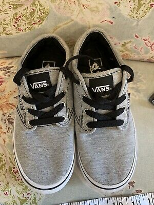 b8fd3bbcf94 Vans Youth Size 2.5 Boys Shoes Grey Gray Black Lace Up Skate Canvas  Sneakers Euc
