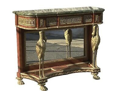 Antique French Empire / Napoleon Iii Style Marble Top Console / Entry Table