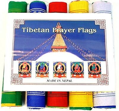 25 Rolls of Large Cotton Tibetan Prayer Flags - 250 Flags/5 Mantra/5 Colours