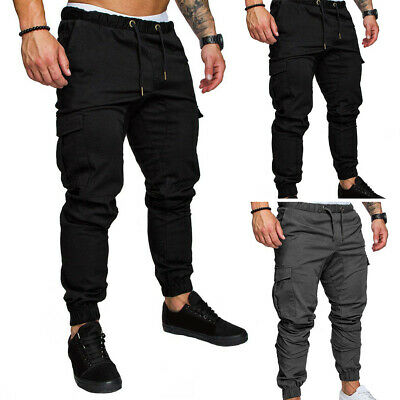 AU Mens Combat Tactical Cargo Forces Work Pants Casual Trousers Drawstring Close