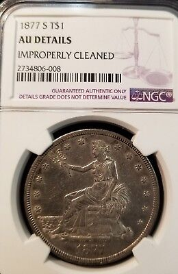 1877 S Seated Liberty Trade Dollar S$1 Ngc Au Details Nice Sharp Coin