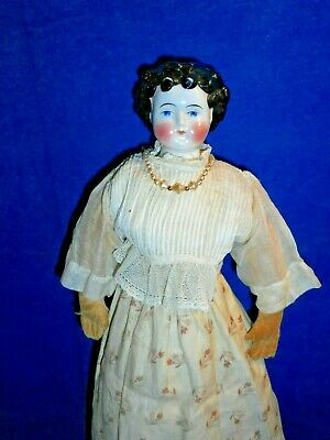 Antique 1870s Antique Highbrow China German Doll Dolley Madison, Bow Hair DD1