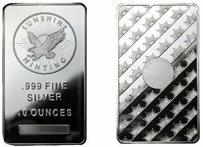 10 oz .999 Fine Silver Sunshine Minting Bar/Bullion. New UNCirculated investment