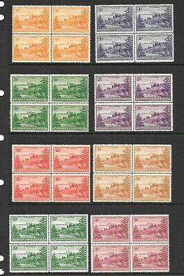 Australia/Norfolk Island 'Pines' x 14 blocks of 4, complete set 1/2d to 2/-.