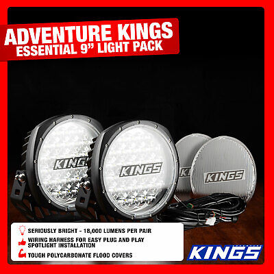 "Adventure Kings Essential 9"" Driving Light Set  Wiring Harness Included"