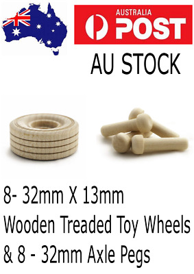 8 Hardwood toy wheels 32mm with Axle Pegs - wooden toy wheels - toy wood wheel