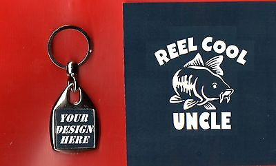 Square Fob Keyring Carp Reel Cool Dad