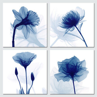 Canvas Prints Painting Picture Photo Wall Art Home Office Decor Blue Flowers 4PC