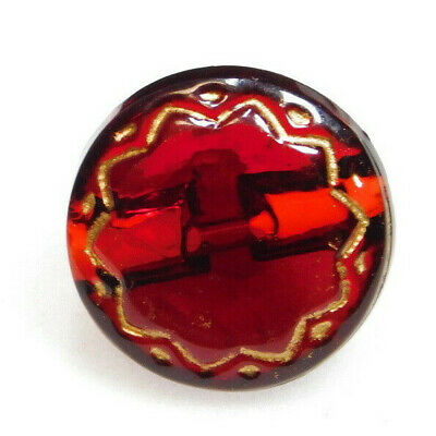 Lovely Antique~ Vtg Victorian Ruby Red GLASS BUTTON Gold Incised Flower L@@K#148