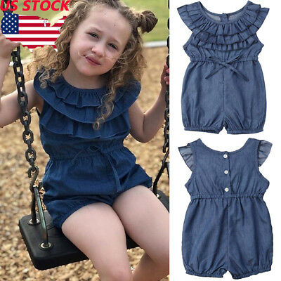 3f97568d5 US Toddler Kids Baby Girl Denim Romper Shorts Jumpsuits Playsuit Outfits  Clothes