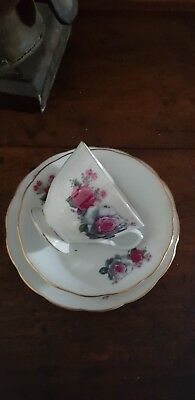 3 Peice Vintage Cup & Saucer Set Red & white rose pattern