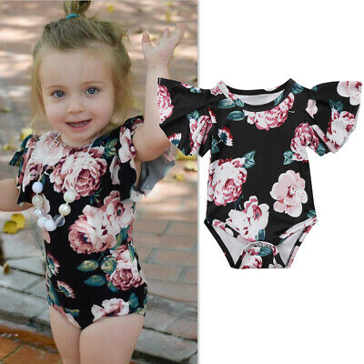 Summer Floral Newborn Baby Girl Ruffled Romper Bodysuit Jumpsuit Outfit Clothes