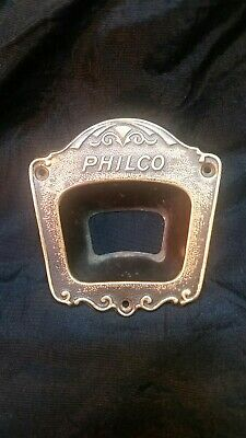 Vintage / Antique Brass PHILCO Radio Faceplate 38 B  or 60 B Cathedral Art Deco