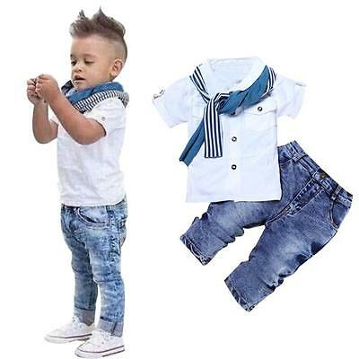 3PCS Toddler Kids Baby Boys T-shirt tops+ Denim Pants +Scarf Clothes Outfits Set