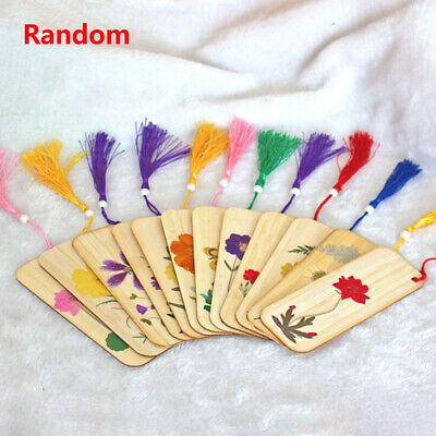 1PC Creative Dried Flowers Bamboo Material Bookmarks Chinese Style DIY Bookmark