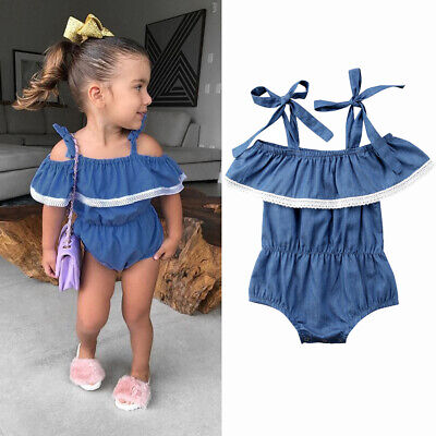 Newborn Baby Girls Toddler Ruffle Strap Romper Jumpsuit Bodysuit Clothes Outfits