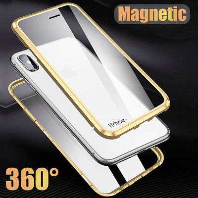 360° Magnetic Adsorption Front+Back Temper Glass Case Cover for iPhone 7 8 Plus