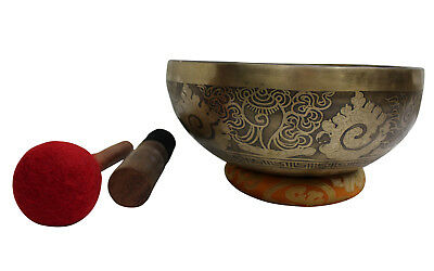 "Singing Bowl Meditation Healing Auspicious Symbols Etched Hand Beaten 1.79Kg ""F"""
