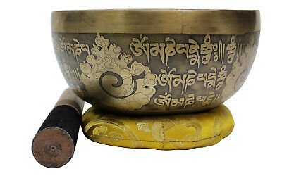 "Singing Bowl Meditation Healing Auspicious Symbols Etched Hand Beaten 728 g ""B"""
