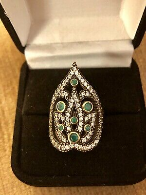 Sterling Silver & Bronze Emerald & Diamond Topaz Ring Size 8 Antique Style