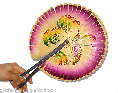 Original Old Vintage Beautiful colorful Paper Handmade Chinese Hand Fan.G62-6 US