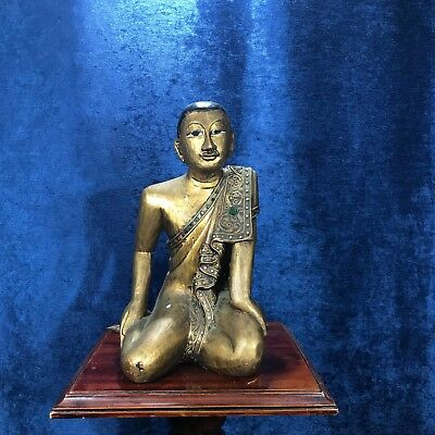 19th C - Antique MANDALAY Gilded Wooden Burmese Kneeling Monk Statue have pair