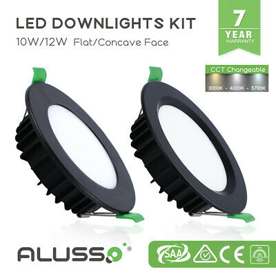 10W/12W White LED Downlight Kit 70mm/90mm Cutout CCT Tri Colour Dim Flat/Concave