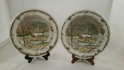 2 Shakespeare's Sonnet Anne Hathaways Cottage ironstone DINNER PLATES