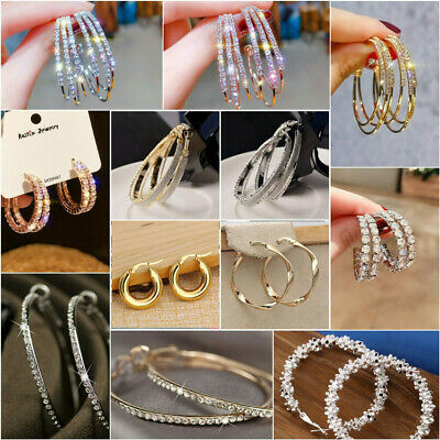 Women Silver Crystal Rhinestone Large Hoop Dangle Earrings Wedding Jewellery