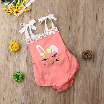 Newborn Baby Girls Bunny Backless Romper Jumpsuits Bodysuits Outfits Clothes Set