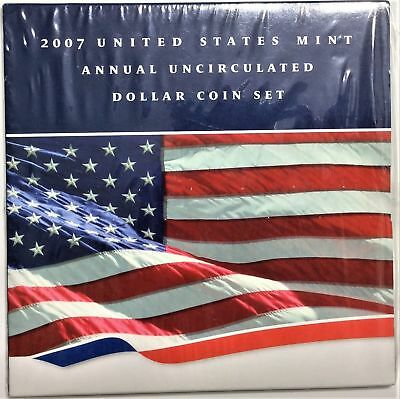 2007 US Mint Annual Uncirculated Dollar Coin Set with Silver Eagle (Unopened)