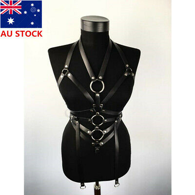 Women Top Body Harness Bondage Bra Corset Bustier PU Leather Chains Belt Strap