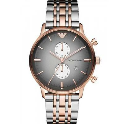 EMPORIO ARMANI Chronograph Rose Gold Silver Classic Mens Watch AR1721