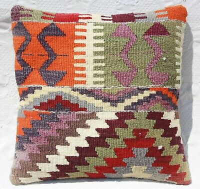 "TURKISH KILIM RUG PILLOW CUSHION COVER WOOL 16"" x 16"" Geometric kilim pillow"