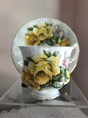 Royal Crest Fine Bone China Tea Cup And Saucer Yellow Roses And Bow England