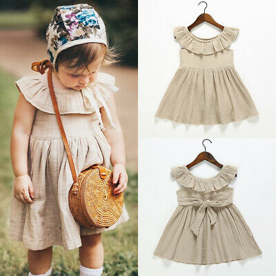 Cute Toddler Kids Baby Girl Summer Cotton&Linen Solid Party Dress Sundress 1-6Y
