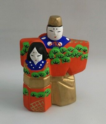 Vtg Japanese Ceramic Hand Painted Figure Husband & Wife Wind Chime Bell Charm