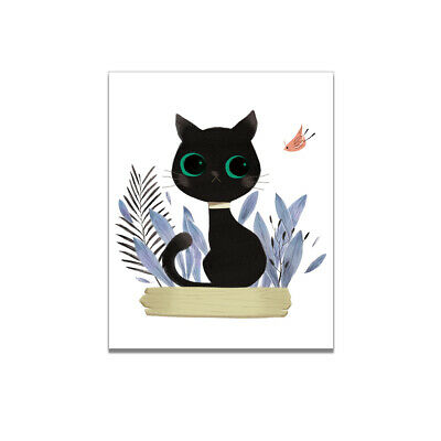 Nordic Cartoon Black Cat Art Painting Canvas Print  Picture Home Wall Decor Gift