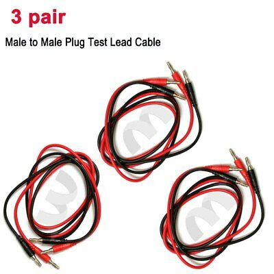 3 Pair Male Banana Test Lead to Male Banana Plug Cord Cable 0.8M Red Black