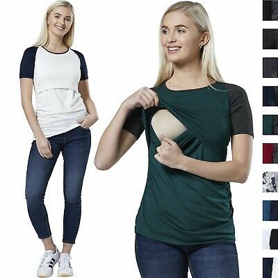 Happy Mama Women's Maternity Nursing Tee Shirt Cut-Out Front Layered Top 154p