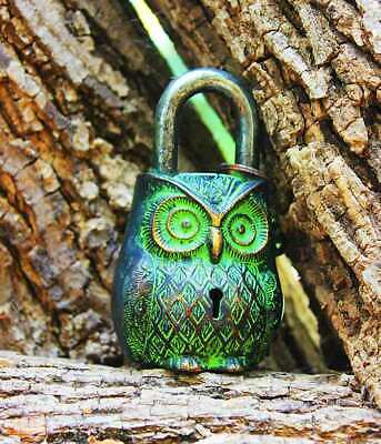LOCK Owl Shaped  padlock- OWL SHAPED LOCK & Keys  Brass metal Antique Style