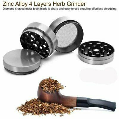 4 Piece Herb Grinder Spice Tobacco/Weed Smoke Zinc Alloy Crusher Leaf Design NEW