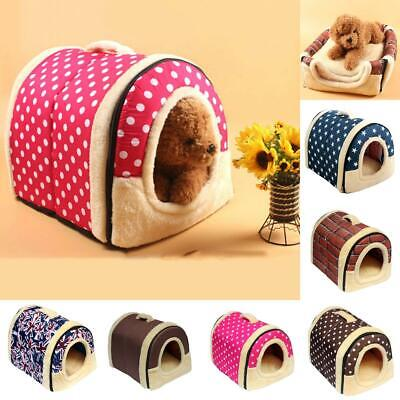 Pet Dog House Kennel Soft Beds Cave Cat Puppy Bed Doggy Warm Cushion Nest Fold