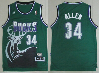 New Men s Milwaukee Bucks  34 Ray Allen Basketball Jersey Retro Green S -  XXL 66abe699e