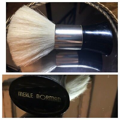Vintage Merle Norman Dusting Body Powder Brush White Black Handle Gold Trim