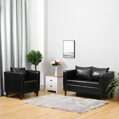 Vintage Glossy Leather 2 Seater Sofa Settee Couch + Upholstered Armchair 2 Color